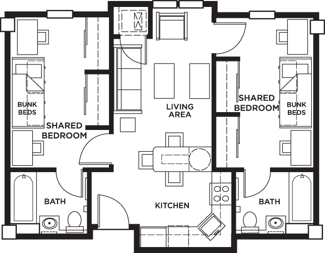 University Village floor plan shows 2 shared bedrooms, 2 baths, and a communal living space including living room, kitchen, and dining area.