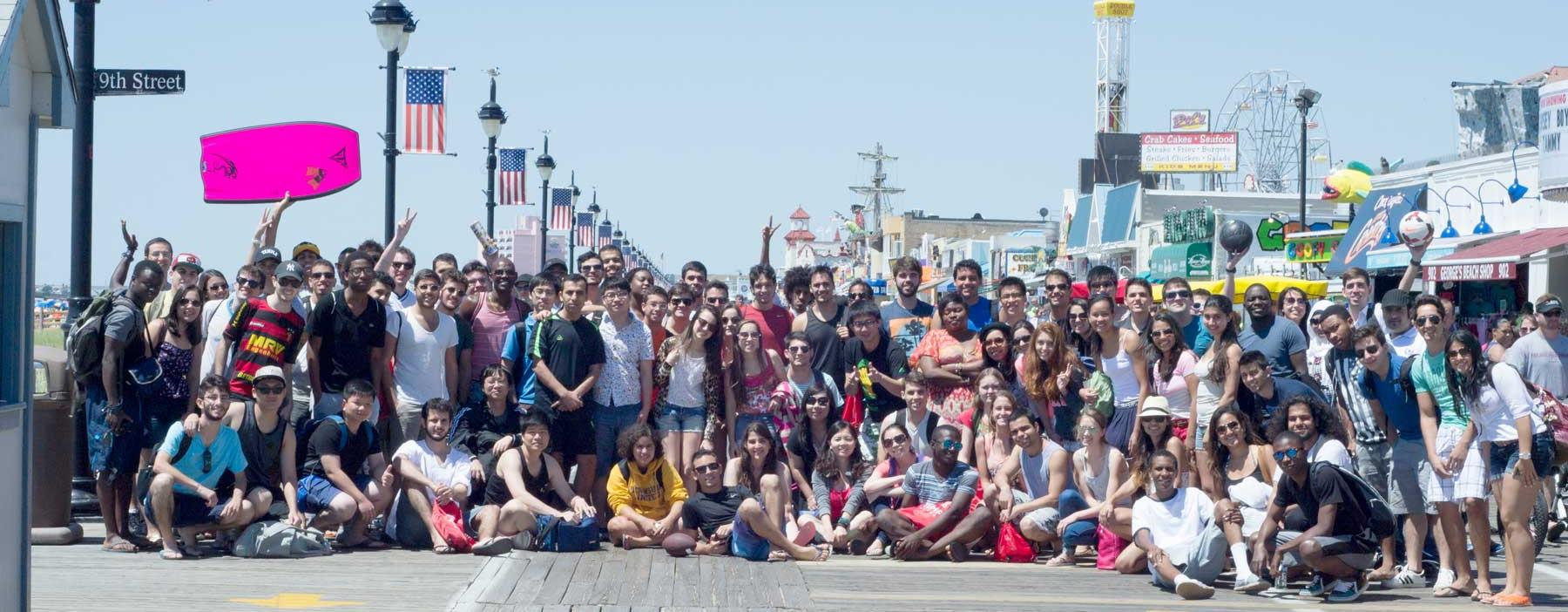 Students in the Intensive English Language Program (IELP) take a day trip to the beach in Ocean City, New Jersey.