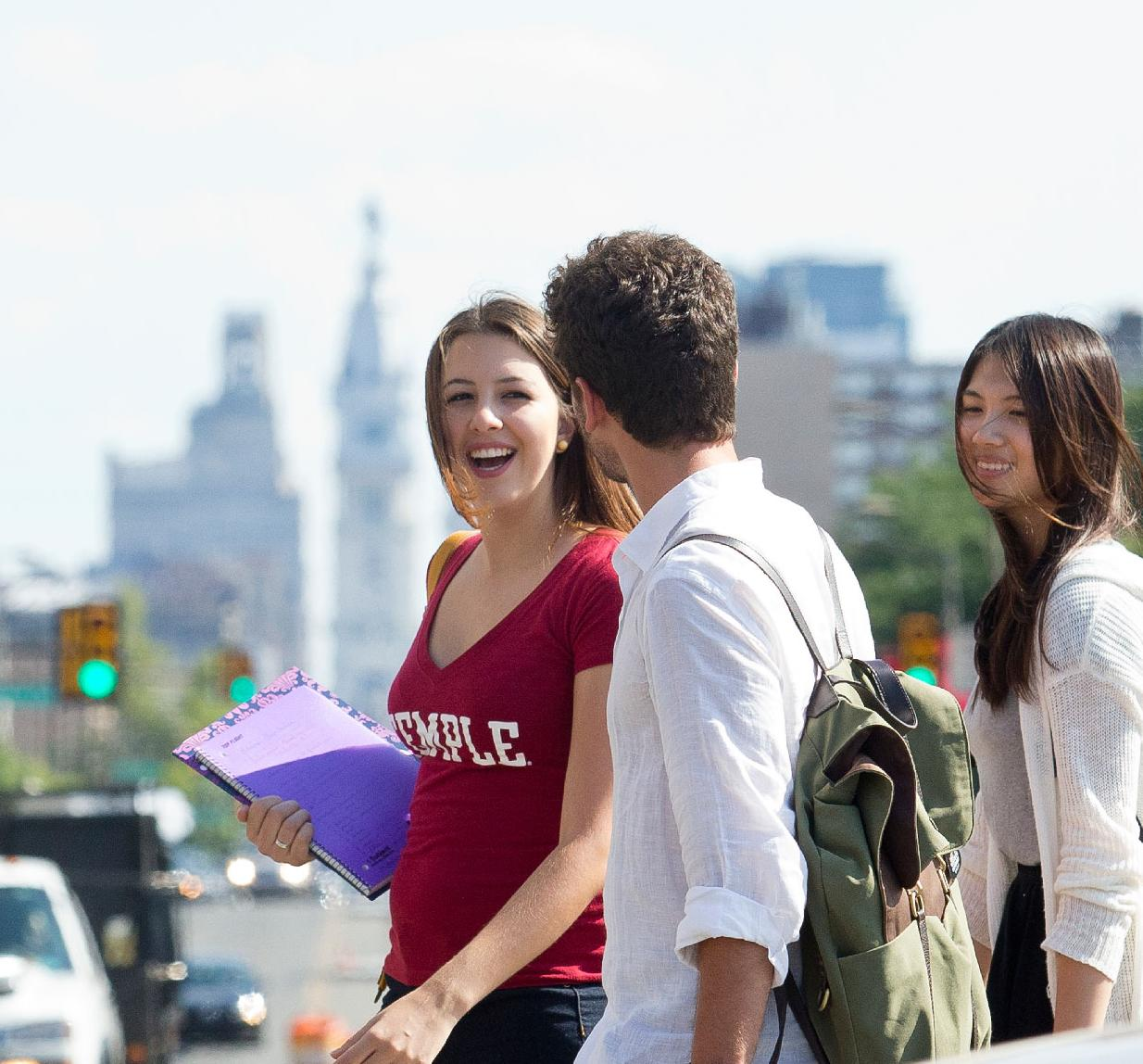 Students crossing the street and talking